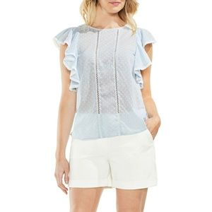Vince Camuto Floral Ruffle Top Lace Inset